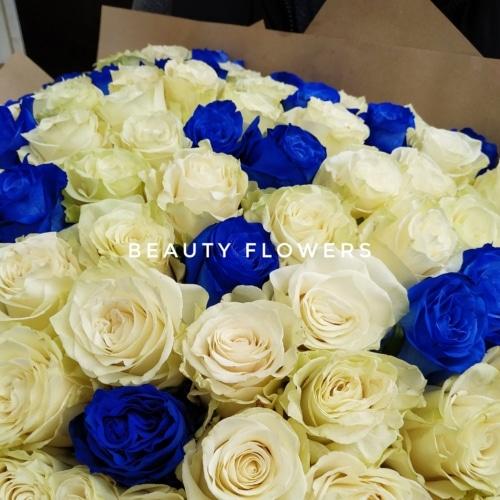 101 белая и синяя эквадорская роза 70 см