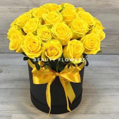 29 желтых роз в коробке
